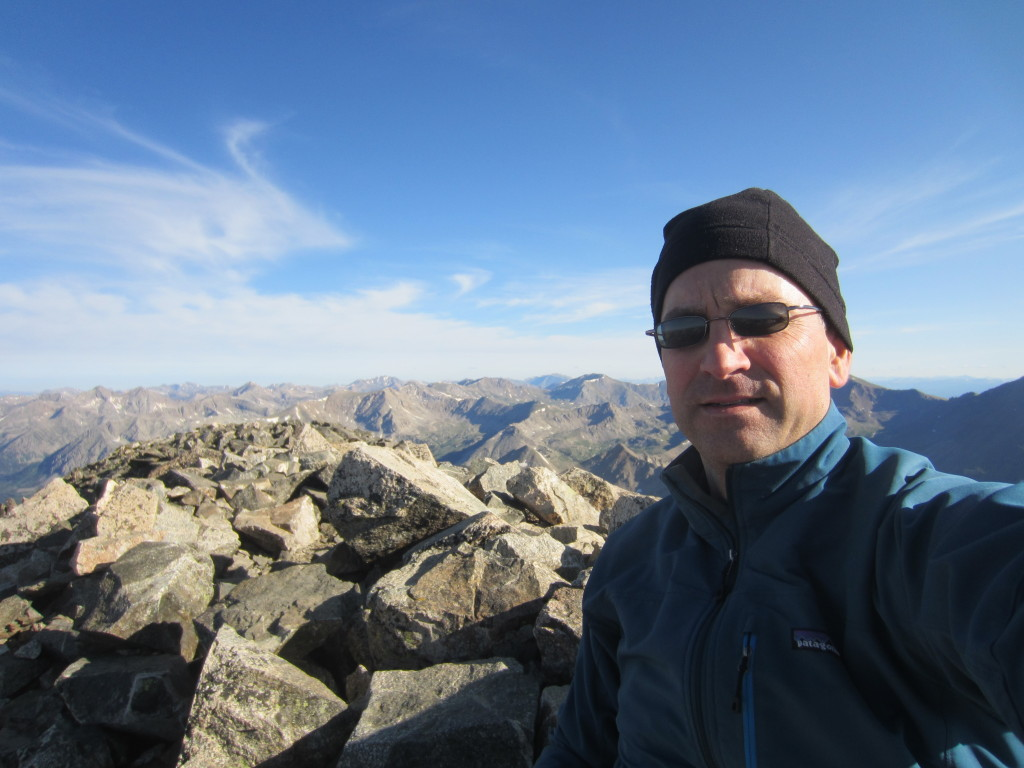 Chris on Mount Yale Summit, view North