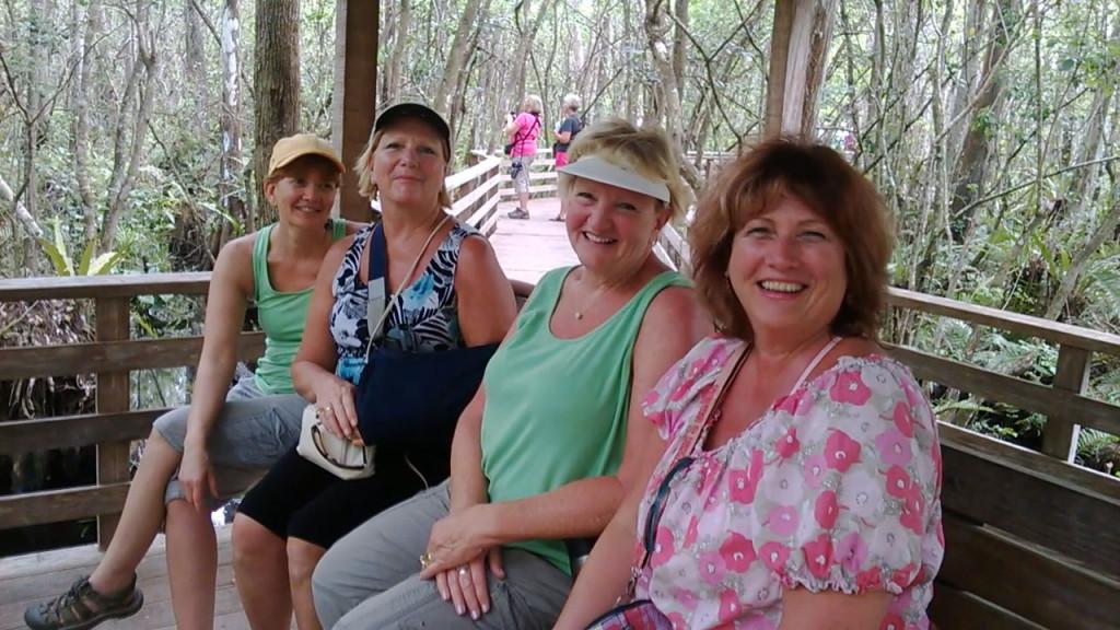 Michelle, Midge, Jean, Debbie at Corkscrew Boardwalk